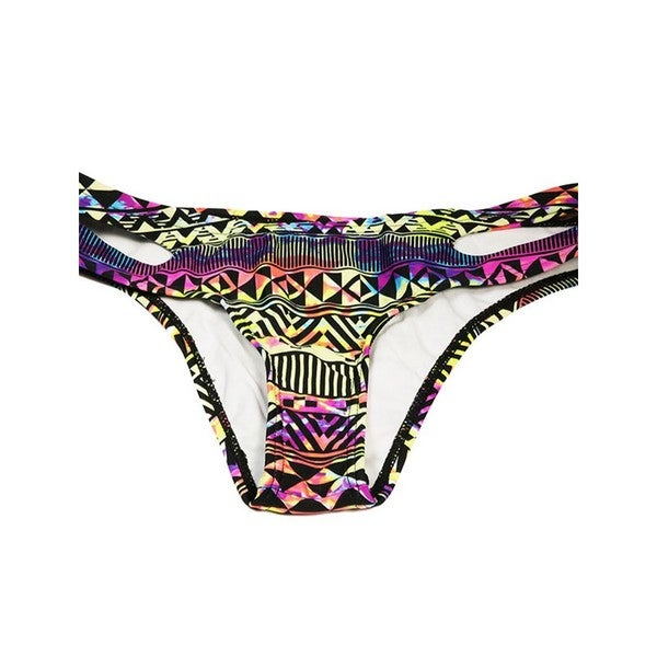 bcbad841089 Shop Women's Neon Tribal Nylon and Spandex Cut-side Bikini Bottom - Free  Shipping On Orders Over $45 - Overstock - 13262470