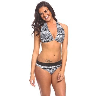 Women's Bohemian Black Fold Over Bikini Bottom