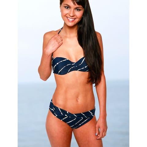 Women's Twist-front Black Lycra Diagonal-design Swim Bottom