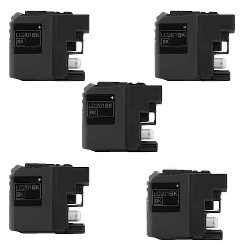 5PK Compatible LC201 BK XL Inkjet Cartridge For Brother MFC J460DW J480DW J485DW J680DW ( Pack of 5 )