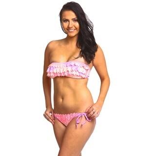 The Ruffled Bandeau Feathers Nylon/Spandex Bikini Set