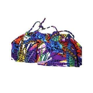 Women's Bright Feathers Multicolor Spandex and Nylon Hanky Top