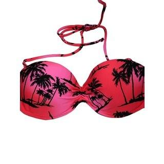 Women's Pink Palms Underwire Bandeau Bikini Top