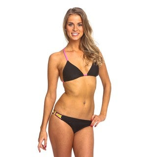 Women's Black Nylon/Spandex Braided Bikini Set