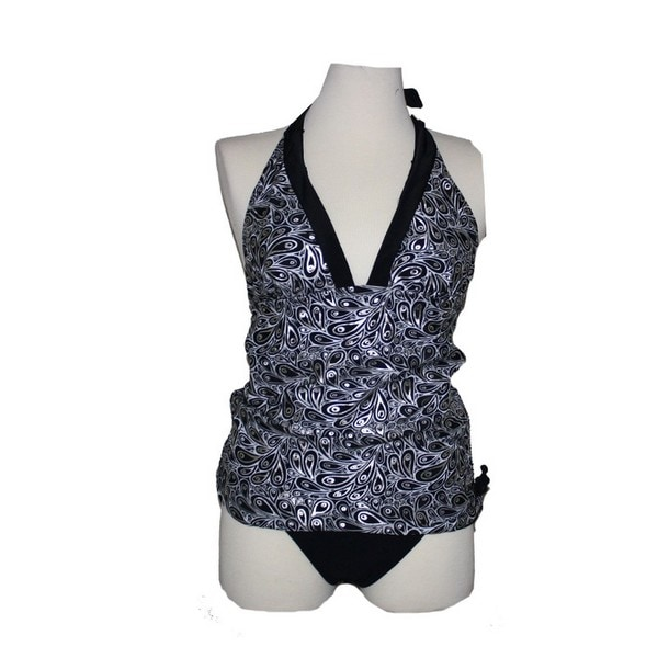Women's Platinum Peacock Halter Top Tankini Swim Set