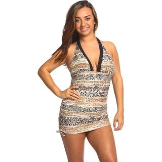Women's Halter Top Tankini Desert Animal Spandex Swim Set
