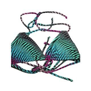 Multicolored Nylon/Spandex Diagonal Stripe Bikini Top