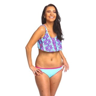 Women's Turquoise/Fuchsia Nylon and Spandex Tie-dye Hanky Top Bikini Set