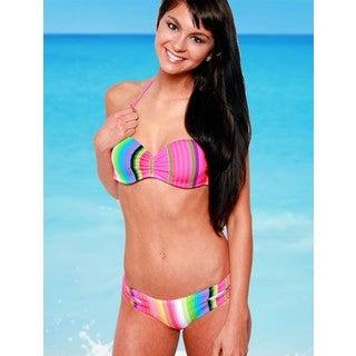 Women's Bright Stripes Pink Spandex Under-wire Bandeau Top