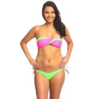 The Two Tone Twist Bikini Set - Knockout Pink and Green Gecko