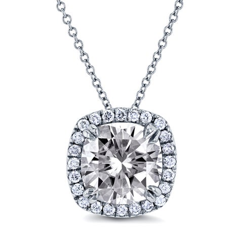Annello 14k White Gold 8.5mm Moissanite (HI) and 1/5ct TDW Halo Diamond (GH) Cushion Pendant and Gold Chain