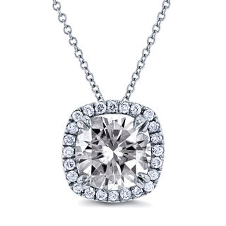 Annello 14k White Gold 8.5mm Moissanite and 1/5ct TDW Halo Diamond Cushion Pendant and Gold Chain (GH, I1-I2)