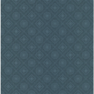 Brewster Kingston Dark Blue Bandana Medallion Wallpaper