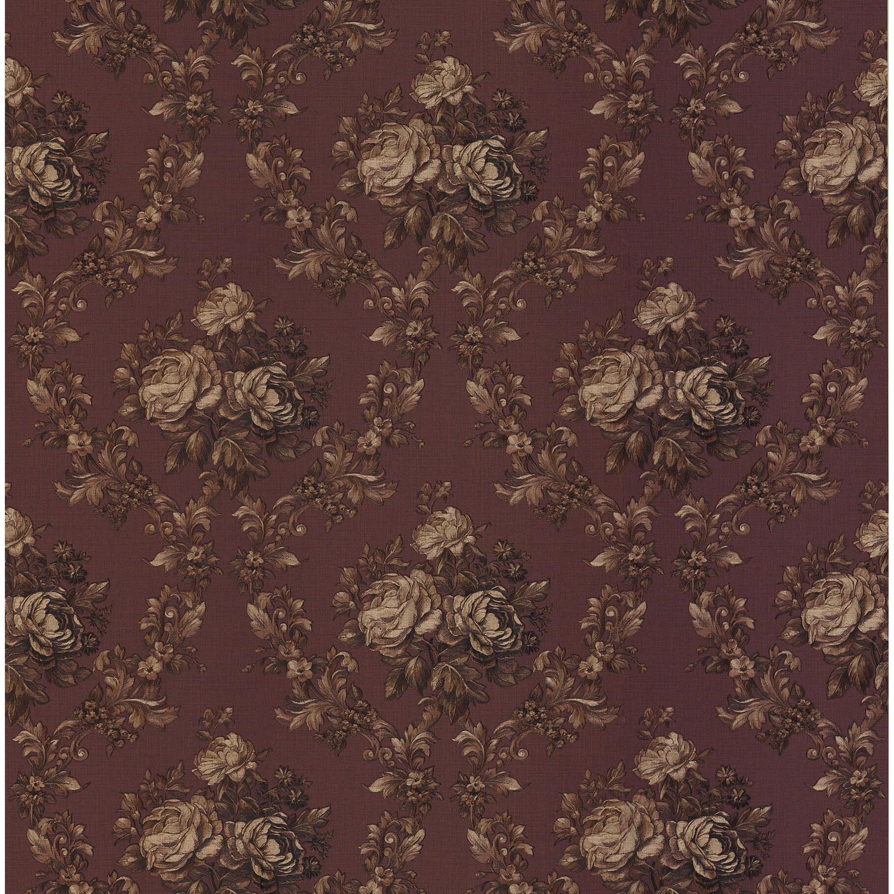 Shop Brewster Elle Dark Red Vinyl Vintage Floral Wallpaper