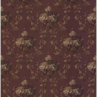 Brewster Elle Dark Red Vinyl Vintage Floral Wallpaper