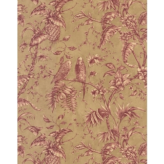 Brewster Cranberry Vinyl Toile Wallpaper