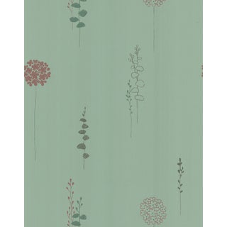 Green Non-woven Sage Botanical Wallpaper