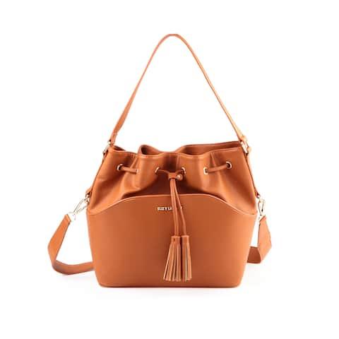 Suzy L. Tassle Drawstring Bucket Handbag