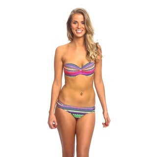 The Underwire Bandeau Top Ruched Side Neon Tribal Nylon/Spandex Bottom Bikini Set