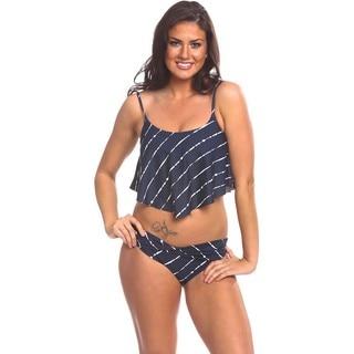 Women's Black/White Nylon/Spandex Waist-skimming Bikini Top