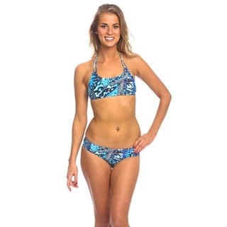 The Sport Top Blue Patch Animal Ruched Side Bottom Bikini Set