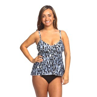 Women's Blue Leopard Print Swing Swimsuit Top