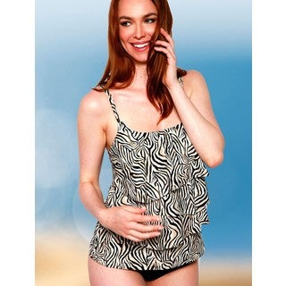 Women's Brown Nylon and Spandex Zebra-print 3-tier Swimsuit Top