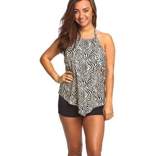 Women's Brown Zebra Spandex Hanky Top