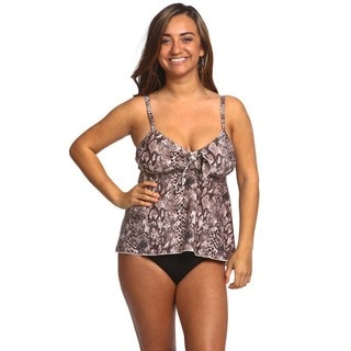 Women's Brown Snake Multicolor Nylon and Spandex Swing Top