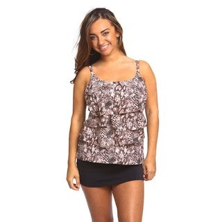 Women's Brown Snakeskin Spandex 3-tiered Swimsuit Top