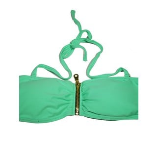 Women's Mint Green Spandex and Nylon Zipper Bandeau Bikini Top