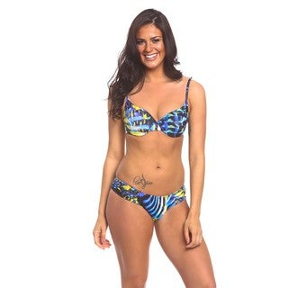 Women's Underwire Blue and Yellow Animal-print Spandex Swim Top