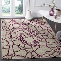 Safavieh Porcello Modern Abstract Light Grey/ Purple Rug - 3' x 5'