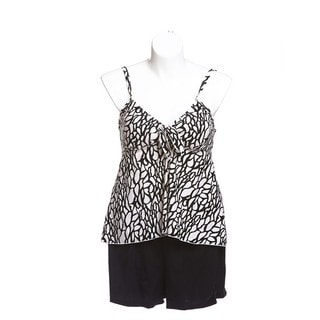 Women's Black and White Animal-print Spandex Swing Tankini Top