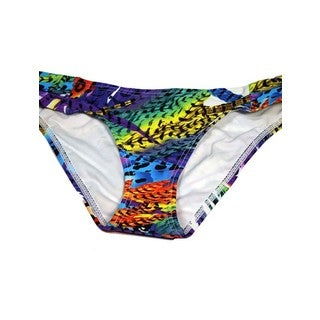 Women's Bright Feathers Multicolor Lycra Ruched Swimsuit Bottom