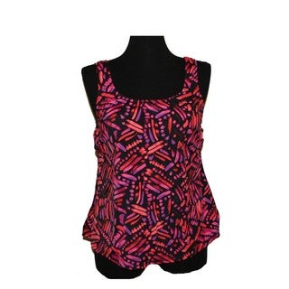 Women's Orange-print Nylon/Spandex Tankini Top/Swim Blouson