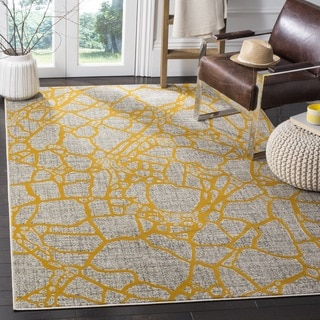 Safavieh Porcello Modern Abstract Light Grey/ Yellow Rug (3' x 5')