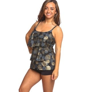 Women's Gold-tone Foil 3-tier Tankini Swimsuit