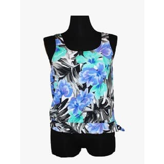 Women's Blue Floral Spandex Swim Blouson|https://ak1.ostkcdn.com/images/products/13263012/P19975080.jpg?impolicy=medium