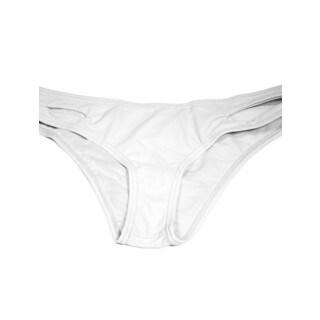 White Lycra Cut Side Bikini Bottom