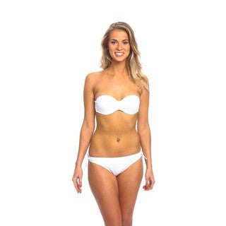 The Cheeky Keyhole White Nylon/Spandex Bikini Bottom