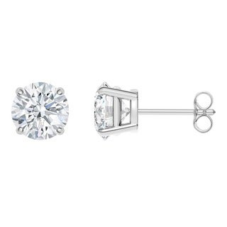 18k White Gold 4-prong Round IGI Certified 2CTtw Diamond Stud Earrings (I, SI2)