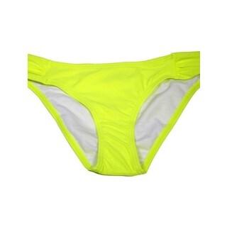 Women's Neon Yellow Ruched Bikini Bottom