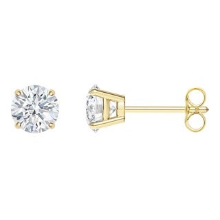 18k Yellow Gold 4-prong Round IGI Certified 1/4CTtw Diamond Stud Earrings (I, SI2)