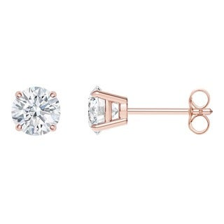 18k Rose Gold 4-prong Round IGI Certified 1/4CTtw Diamond Stud Earrings (I, SI2)