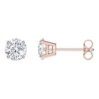 18k Rose Gold 4-prong Round IGI Certified 1/2CTtw Diamond Stud Earrings (I, SI2)