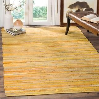 Safavieh Hand-Woven Rag Cotton Rug Yellow/ Multi Cotton Rug - 4' x 6'