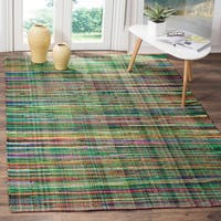 Safavieh Rag Cotton Rug Bohemian Handmade Green/ Multi Cotton Rug (4' x 6')
