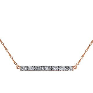 Beverly Hills Charm 14K Pink Gold 1/5ct TDW Diamonds Bar Necklace (H-I, I2-I3)
