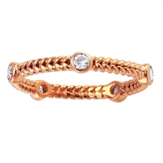 14k Pink Gold 1/4ct TDW Diamond Braided Eternity Band Ring